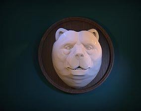Bear Head front Bas Relief 3D print model