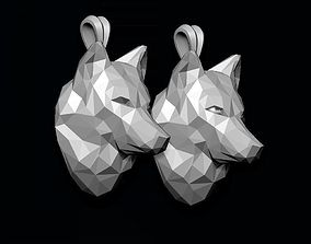 wolf pendant low poly 3D print model 3dm