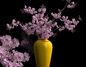 Japanese cherry brances in yellow vase 3D model