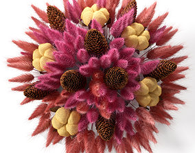 3D model plant Bouquet of colored lagurus