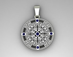 Pendant with patterns and sapphires 3D printable model