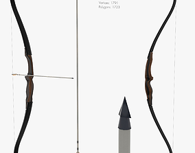 Recurve bow 3D model animated