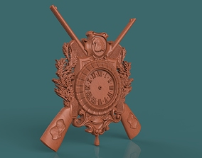 hunting wall clock 3d stl model for cnc