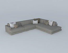 3D model Double Back Custom Soft Sofa