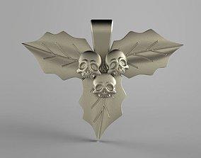Skull leaves pendant 3D printable model