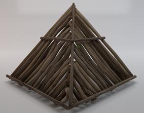 3D asset Wooden Roof