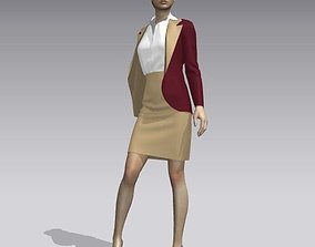 3D asset game-ready Woman in suit