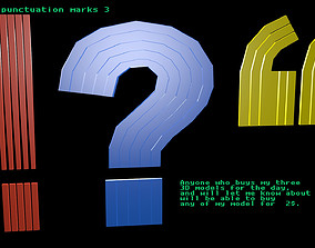 Low poly punctuation marks 3 3D model