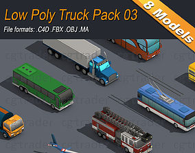 Low Poly Truck Pack 03 3D asset