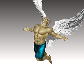 Bodybuilder Man statue angel character 3D model