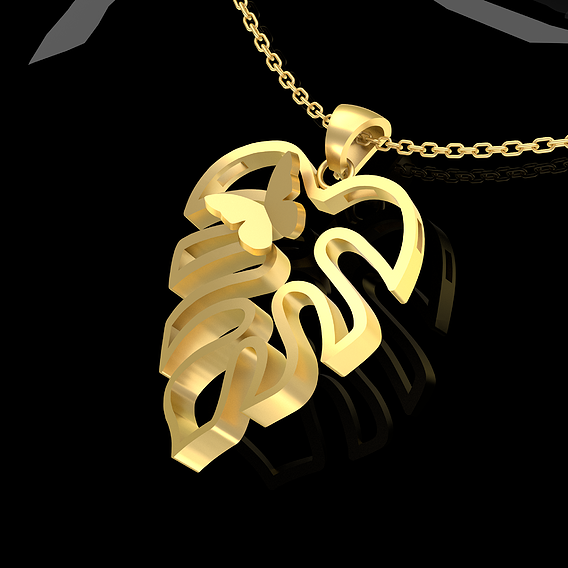 Leaves butterflies Pendant Jewelry Gold 3D print model