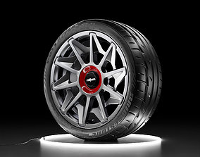 Car wheel Bridgestone Potenza RE11 tire with 3D asset 2