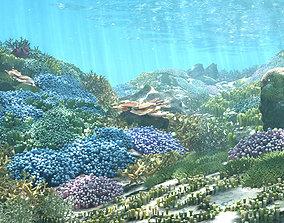 animated 3D Cartoon Underwater Coral Reef Habitat Ocean 1