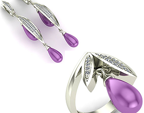 3D diamond WOMAN SET RING AND EARRINGS
