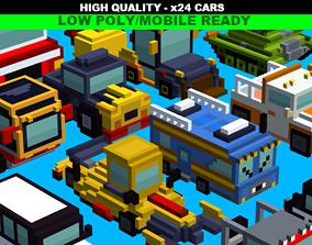 Simple Blocky Cars Pack 3D model