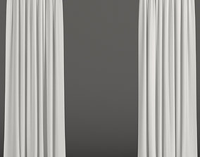 3D model White curtains from tulle
