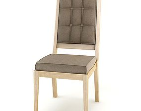 3D model Simple Wooden Cushioned Chair