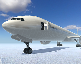 3D model low-poly Airliner - aircraft with interior