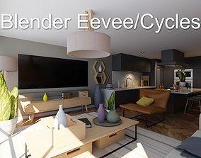 3D asset Luxury one bedroom apartment
