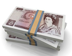 game-ready UK Pound Stack 3D model