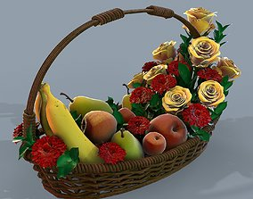 PBR Basket with flowers and fruits 3d model