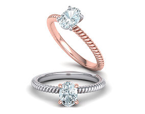Rope design Solitaire ring 7x5 Oval stone