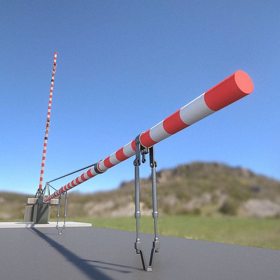 Low-Poly Railroad Barrier 9m