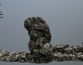 3D asset low-poly rocks mountain