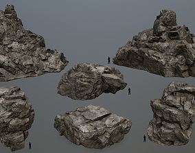 cliff rocks set 3D asset