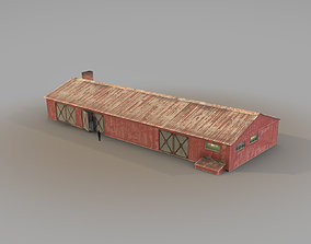 3D asset low-poly Old Garage 01 red