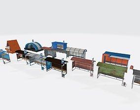 3D asset Busstop Pack