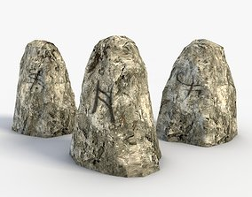 3D asset Low Poly Runestones