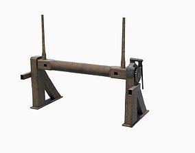 Medieval castle gate winch 3D asset