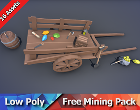 Free Mining Pack - Low Poly Ores and Gems and 3D asset 2