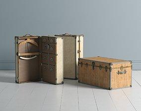 3D model Antique Travel Trunks