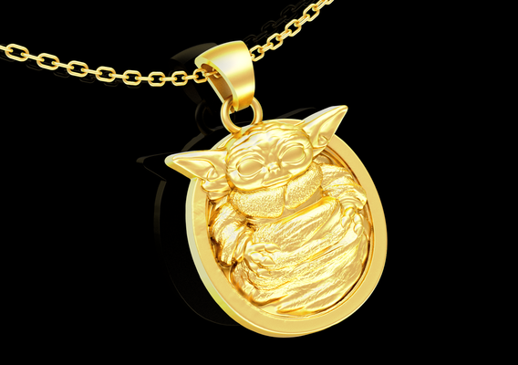 Baby Yoda Sculpture pendant jewelry gold necklace medallion 3D print model