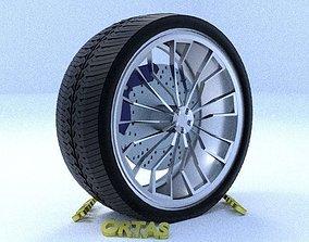 ORTAS CAR RIM 2 GAME READY RIM TIRE AND DISC 3D model