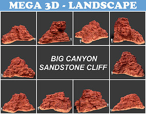 Low poly Big Canyon Sandstone Cliff Collection 3D asset