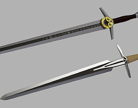 Witcher steel and silver sword 3D printable model