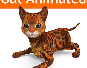 3D Cat Rigged and Animated model animated