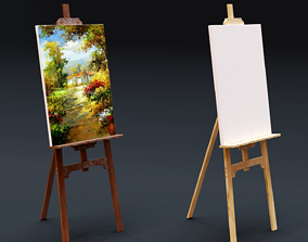 3D model Carved Wood Easel for Painting
