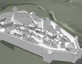 3D asset Medieval fortified town