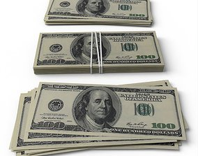Dollar Bills stack 3D model