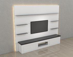 3D model Tv Unit With Black Glasses