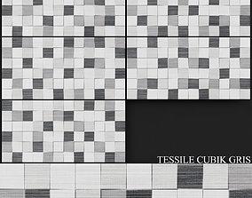Keros Tessile Cubik Gris 250x500 3D