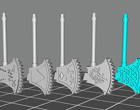 Wolf viking style chain axes - Set of 7 3D printable model