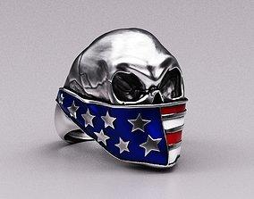 Skull ring American 3D printable model
