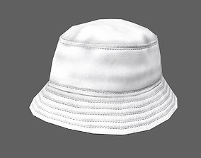 3D asset Bucket hat - white