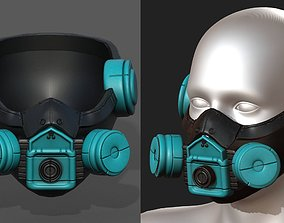 Gas mask futuristic scifi fantasy 3d helmet game-ready