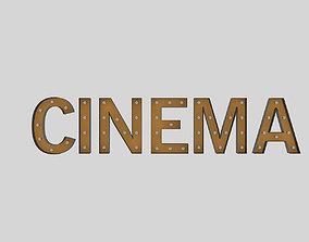 Cinema Sign With Bulb 3D